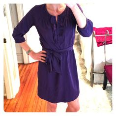 Gap purple shirt dress with tie belt Great for professional wear. Pretty color and romantic details. Worn once for a family picture. Excellent condition. 100% polyester. Smoke and pet free home. GAP Dresses Long Sleeve