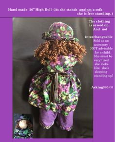 19b3ab9f087 Used 36-inch purple, black, and golden hand made high doll for sale in  OWINGSMILLS