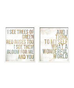 Song Lyric 'Wonderful World' Wall Art