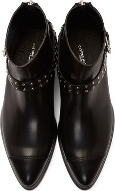 Costume National Black Leather Studded Buckle Boots