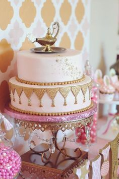 Incredible cake at a Genie Party Birthday Party!  See more party ideas at CatchMyParty.com!