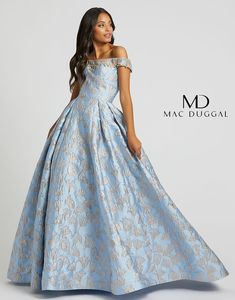 Next time you stare at the sky see style number 66782. Off the shoulder, fully embellished neckline trim and pockets make up this extraordinary sky blue ball gown.