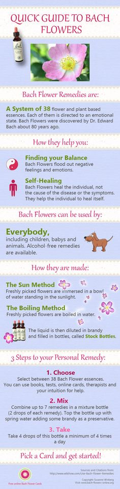 Learn more about Bachflower-Remedies with the  quick Guide to Bach Flowers. I used to use Back flowers i gotta say that they work great for a lot of problems