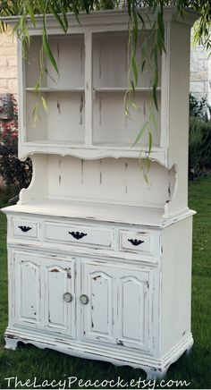 Vintage Hutch and Buffet in White by TheLacyPeacock on Etsy, $375.00
