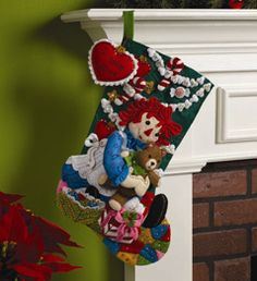 Bucilla ® Seasonal - Felt - Stocking Kits - Raggedy Ann - Chirstmas Morning #Plaidonline.com #ChristmasCraftWishList