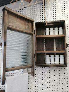 An old crate and a washboard turned awesome cabinet! An old crate and a washboard turned awesome cab Country Decor, Rustic Decor, Farmhouse Decor, Repurposed Furniture, Diy Furniture, Handmade Cabinets, Deco Champetre, Cozy Bathroom, Antique Decor