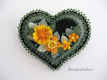black heart yellow flowers pin