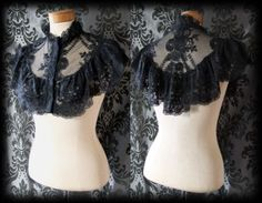 Gothic Black Lace Detailed REVERENCE Choker High Collar / Cape / Shrug Victorian - £24.99