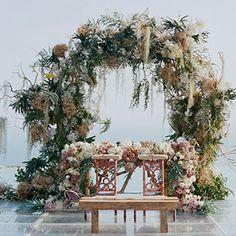 Real Weddings- Tropical Bali Wedding Bali Wedding at the Alila Villas Uluwatu: Photos Wedding Altar Decorations, Wedding Altars, Bali Wedding, Floral Wedding, Wedding Flowers, Wedding Venues, Wedding Arches, Seaside Wedding, Wedding Vows