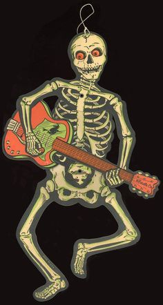 """I like that Pinterest's suggested board for this was """"The Road to Fitness."""" Ah, yes, a skeleton playing the guitar--the very vision of health."""