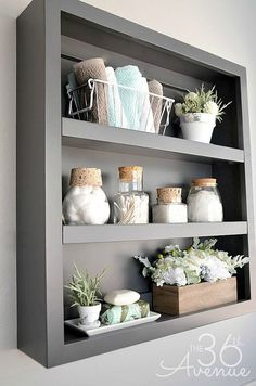 Bathroom shelves over toilet, bathroom bin, teen bathroom decor, wooden bat Wooden Bathroom Shelves, Bathroom Shelf Decor, Bathroom Interior, Bathroom Remodeling, Bathroom Wall Storage, Decorating Bathroom Shelves, Teen Bathrooms, Amazing Bathrooms, Bathroom Small