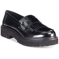 Nine West Account Tailored Loafers (54 CHF) ❤ liked on Polyvore featuring shoes, loafers, black leather, black loafers, leather loafers, black oxford shoes, black flat shoes and black leather shoes