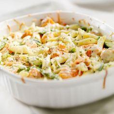 Gratin de pâtes, saumon et brocolis – Ingrédients de la recette : 300 g de pâtes cuites penne, farfalle, 3 fleurs de brocolis, 2 tranches de saumon fumé, 1 boule de mozzarella, 15 cl de
