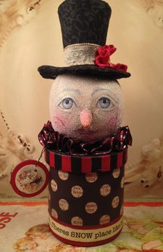 Folk Art one of a kind Primitive snowman by FolkArtByPenny on Etsy, $44.99