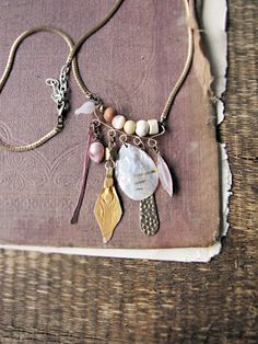 Astarte - tribal charm cluster necklace - Kuchi charm - mother of pearl - 18k gold via Sparrowsalvage