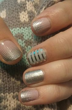 Jamberry nails. Fade in, diamond dust sparkle, and gray & silver horizontal pinstripe. jfletcherfierro.jamberrynails.net