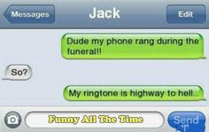 These text messages are all filled with funny… [via ebw] Funny Texts Jokes, Text Jokes, Funny Text Fails, Cute Texts, Funny Text Messages, Stupid Funny Memes, Funny Laugh, Funny Relatable Memes, Text Message Fails