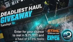Visit Discovery.com/STIHL and try your chance to win a $25,000 cash prize and over $1,000 worth of STIHL products. #Sweepstakes #Wincash