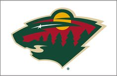 Minnesota Wild Jersey Logo (2001) - The head of a black bear created using Minnesota-area scenery, green pine trees, a wheat coloured river, a red sky, yellow sun set and white shooting star - worn on Minnesota Wild white jersey since their 2000-01 inaugural season