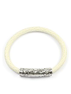 Men's White Stingray Bracelet with Silver Lock Sterling Silver, Bracelets, Gold, Leather, Jewelry, Jewlery, Jewerly, Schmuck, Jewels