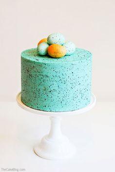 DIY Speckled Robins Egg Cake  | Carrie Sellman for TheCakeBlog.com