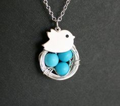 So adorable! Baby bird necklace from Delicacy J (featured on fashionmefabulous.com)