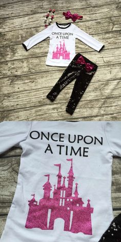 Fall/Winter outfit baby girls clothes fairytale castles Sequins kids Sequins once upon a time pants matching bow and necklace $15.99