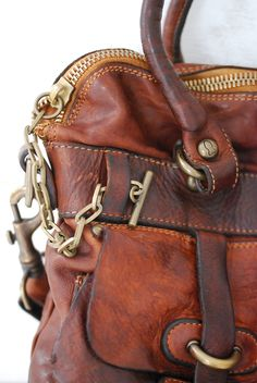 leather and hardware.