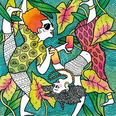 Two african grafiti artists on fire #illustration #watercolor #marker #couple #beautifulcouple #upsidedown #color #2018calendar Beautiful Couple, Marker, African, Fire, Graphic Design, Watercolor, Artists, Street, Illustration
