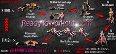 Valentine's Day Couples Workout Routine - Ready To Workout Couples Workout Routine, Bodyweight Workout Routine, Workouts, Warrior Workout, Back Squats, Valentines Day Couple, Body Weight Training, Fit Couples, Leg Press