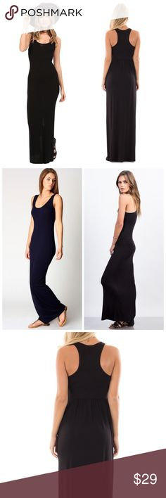 4 Left❤HOST PICK❤Black Maxi Dress HOST PICK BY @51twenty 5 STAR RATING.  Black Maxi Dress with flattering racerback maxi can be dressed up or down, while providing softness and comfort from our signature Eco Jersey. Features raw-edge bottom hem.  Eco-Jersey 95% Viscose, 5% Spandex ,  Racerback Detail Set In Neckband Raw Hemline at Bottom Opening  Made In U.S.A. SoChic Dresses Maxi