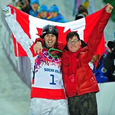 """@Sarah Chintomby Chintomby Griffin Journal's photo: """"Alex Bilodeau of Canada celebrates with his brother Frederic after winning gold in the men's freestyle moguls event at the Sochi Winter Olympics on Feb. 10, 2014. Photo by Ed Kaiser/Edmonton Journal/Postmedia Olympic Team #sochi #sochi2014 #olympics"""