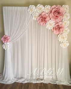 Backdrop with ROSES in colors white and light pink. Bridal shower or wedding photo wall&Minus the niddle drapijg and adding in grey leaves with a lighter pink flowerforceremony and reception backdropHow To Use Giant Paper Flowers At Your Wedding 31 – Fi Decoration Buffet, Backdrops For Parties, Girl Shower, Handmade Flowers, Diy Flowers, Baby Shower Decorations, Baby Shower Backdrop, Shower Centerpieces, Wedding Centerpieces