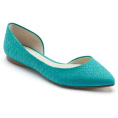 Apt. 9® Women's Pointed-Toe Dress Flats (2.385 RUB) ❤ liked on Polyvore featuring shoes, flats, turquoise, flat shoes, pointed toe shoes, pointy toe flats, snake skin shoes and turquoise shoes