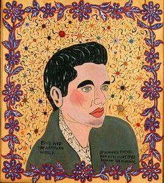 Elvis And The Arpitaun World - Howard Finster - Art Brut, 1980 Arte Pop, Howard Finster, Pop Art, Contemporary Decorative Art, Art Database, Naive Art, Visionary Art, Outsider Art, American Artists