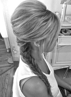 Pumped up hair style with side fish tail braid  I want this style when I grow them longer I reckon there's definely hair extensions used here maybe?