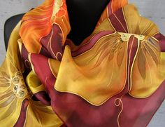 Hand painted floral silk scarf. Dark red wine by TiiuHandCraft