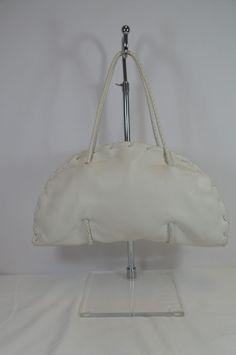 Bottega Veneta White Leather Shoulder Bag Size Large On Sale Sh #BottegaVeneta #ShoulderBag