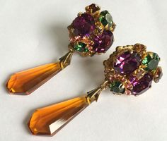 Tantalizing Vintage Miriam Haskell Crystal Drop Earrings~Crystals/RS/Goldtone #MiriamHaskell