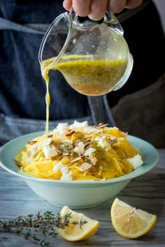 Spaghetti Squash with Chevre and Lemon Thyme Dressing on Healthy Seasonal Recipes by Katie Webster | gluten-free and low-carb