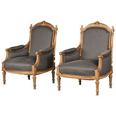 Pair of Napoleon III Gilt Armchairs, Mid-19th Century | From a unique collection of antique and modern armchairs at https://www.1stdibs.com/furniture/seating/armchairs/