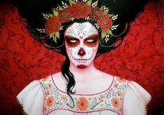 Day of the Dead and Other Works by the artist Sylvia Ji. A book of Sylvia Ji art. Dark Beauty, Sylvia Ji, Day Of The Dead Art, Artwork Images, Rain Barrel, Skull Face, After Life, Mexican Art, Mexican Skulls