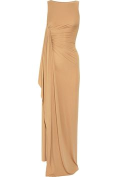 Michael Kors sleeveless form-fitting stretch crepe jersey champagne gown with gathered draping on the side