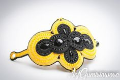 Black and yellow set. by JejGumisiowosc Soutache Bracelet, Black N Yellow, Round Beads, Bracelet Making, Seed Beads, Jewelry Design, Craft Ideas, Sterling Silver, Bracelets