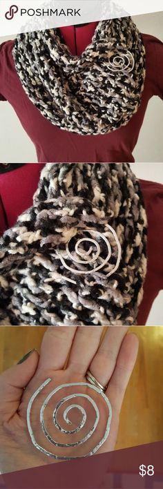 Black and white cowl with pin Spiral pin is hand made. Silver. Cowl is crochet  black and white. Very good for the cold weather or for an accessory. handmade Accessories Scarves & Wraps