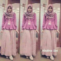 baju muslim NADINA SET 3 IN 1, bahan jersey Harga 100k www.ramailancar.com www.facebook.com/tokobajurajutmurah 0857 2212 6318