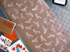 craft paper cum wrapping paper via white ink and stamps