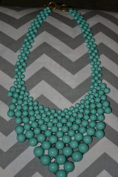 Turqoise beaded bib necklace by leeleeaccessories on Etsy,
