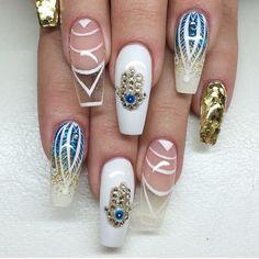 Glam set of acrylic nails. by thenailbarsydney http://ift.tt/1NRMbNv