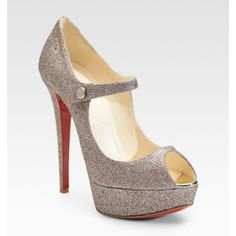 Christian Louboutin Glitter-Covered Leather Peep-Toe Pumps ($795) found on Polyvore